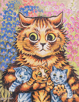 White Flowers Painting - A Cat With Her Kittens by Louis Wain
