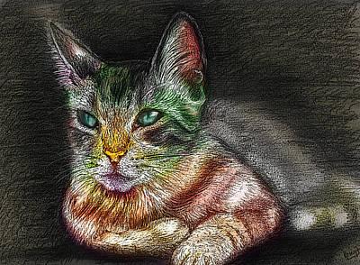 Digital Art - Savanna Cat  by Remy Francis