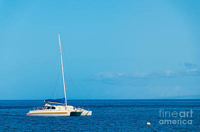 Photograph - A Catamaran Moored In The Pacific Ocean Off The Island Of Maui H by Don Landwehrle