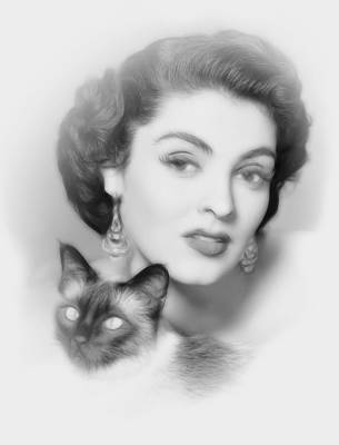 Female Face Drawing - A Cats Eyes by Steve K