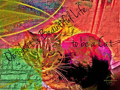 Digital Art - A Cat's Life by Absinthe Art By Michelle LeAnn Scott