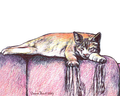 Animals Drawings - A Cats take on habits that are hard to break by Deanna Yildiz