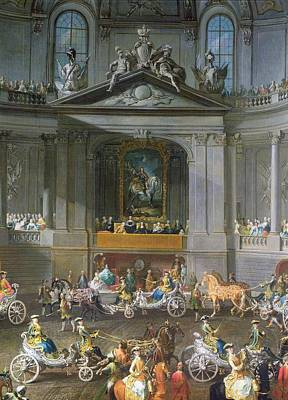 A Cavalcade In The Winter Riding School Of The Vienna Hof To Celebrate The Defeat Of The French Art Print by Martin II Mytens or Meytens