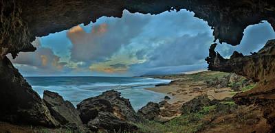 Photograph - A Cave Overlooking Moomomi Beach by Richard A Cooke Iii.