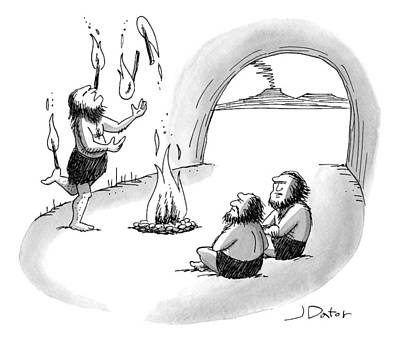 A Cave Person Is Juggling Sticks Of Fire Art Print