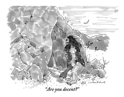 Cave Drawing - A Caveman Calls Into Cave From Entrance by Michael Crawford