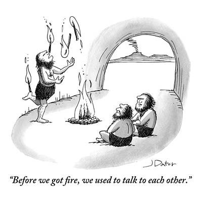 A Caveman Is Juggling Sticks Of Fire While Two Art Print by Joe Dator