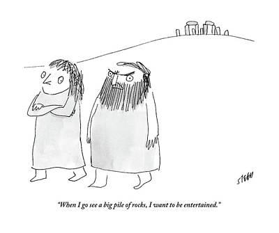 Stonehenge Drawing - A Caveman Man Grumpily Talks To His Cavewoman by Edward Steed