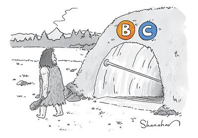 Tunnel Drawing - A Caveman Walks Past A Tunnel Labeled Bc by Danny Shanahan