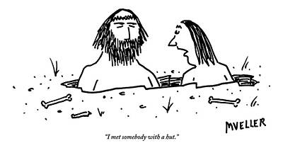 Breakup Drawing - A Cavewoman Breaks Up With A Caveman by Peter Mueller