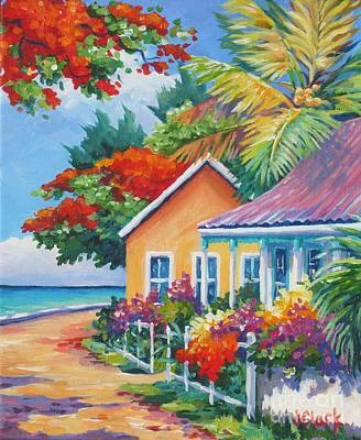 Caribbean Painting - A Cayman Street In Summer by John Clark