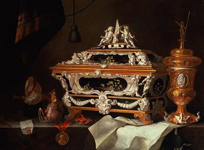 Casket Photograph - A Celebration Of The Goldsmiths Art Oil by Pieter Gerritsz. van Roestraten