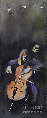A Cellist Art Print by Yoshiko Mishina