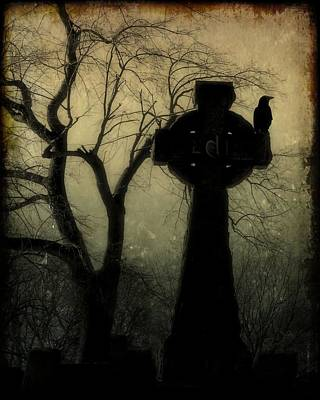 Ravens In Graveyard Photograph - A Celtic Crow by Gothicrow Images