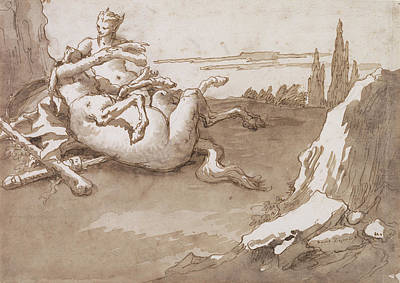 Centaur Drawing - A Centaur And A Female Faun In A Landscape Giovanni by Litz Collection