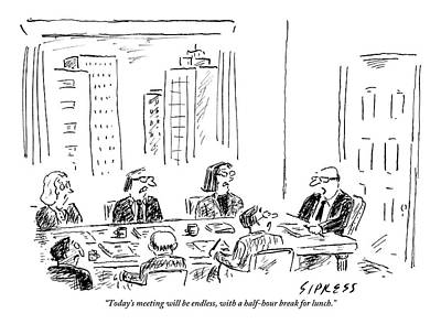 Drawing - A Ceo Talks To His Board During A Board Meeting by David Sipress
