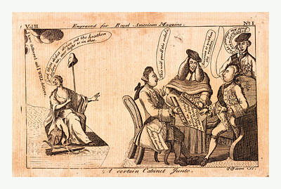 Civil Rights Drawing - A Certain Cabinet Junto, En Sanguine Engraving 1775 by English School