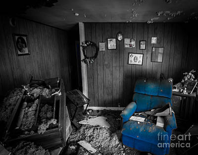 Photograph - A Chair In Blue by Ken Frischkorn