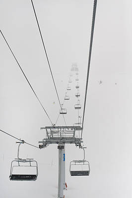A Chairlift At A Ski Resort Whistler Art Print by Keith Levit