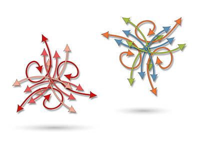 Chaos Maze Digital Art - A Chaotic Arrows Pattern by Jozef Jankola
