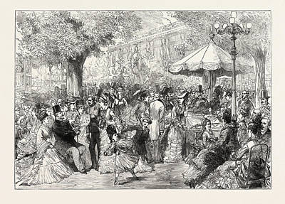 A Charity Fete In The Champs Elysees, Paris Art Print by French School