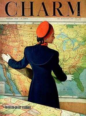 1940s Fashion Photograph - A Charm Cover Of A Model By An American Map by Hal Reiff