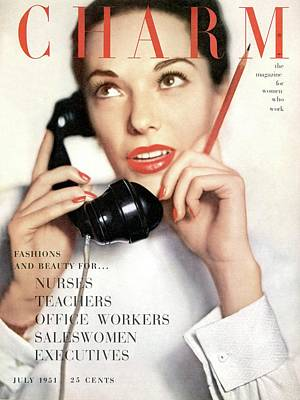 A Charm Cover Of A Model Holding A Telephone Art Print by Ernst Beadle