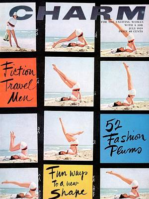 1950s Fashion Photograph - A Charm Cover Of A Model Posing On A Beach by Maurice Pascal