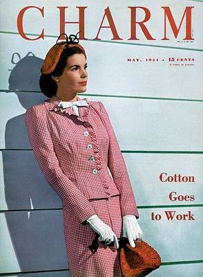 1940s Fashion Photograph - A Charm Cover Of A Model Wearing A Huxley Suit by  Farkas