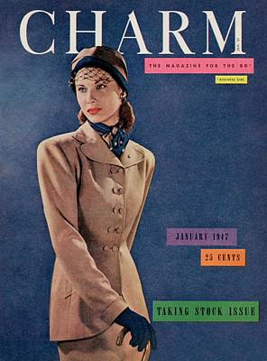 A Charm Cover Of A Model Wearing A Swansdown Suit Art Print by Fritz Henle
