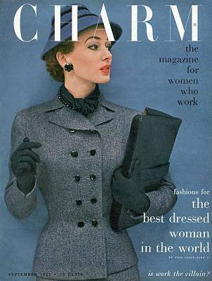 A Charm Cover Of A Model Wearing A Tweed Suit Art Print by Carmen Schiavone