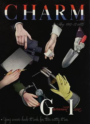 1940s Fashion Photograph - A Charm Cover Of Women's Hands Reaching For Tools by George Karger