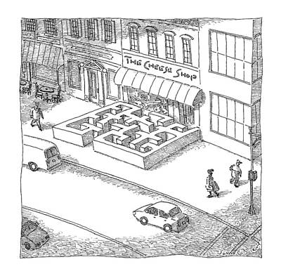 Maze Drawing - A Cheese Shop Has The Exterior Of A Mouse Maze by John O'Brien