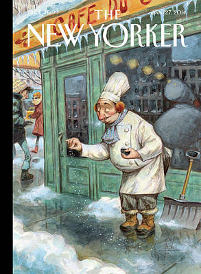 New York Painting - A Chef Lightly Pinches Salt On The Sidewalk by Peter de Seve