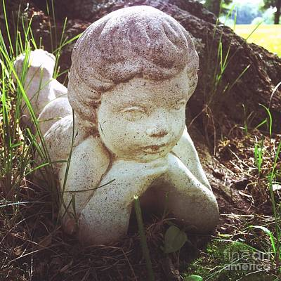 A Cherub Angel Outdoors Print by Amy Cicconi