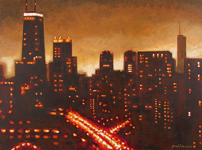Abstract Art Painting - A Chicago View Tonight by Joseph Catanzaro