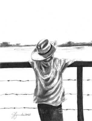 Fence Drawing - A Child On A Farm by J Ferwerda