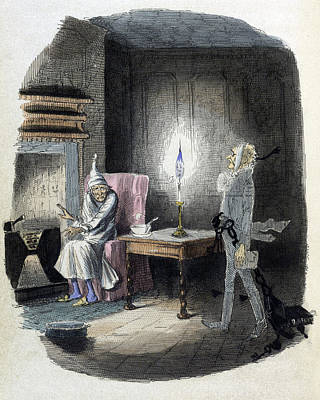 John Marley Photograph - A Christmas Carol, Marleys Ghost, 1843 by British Library