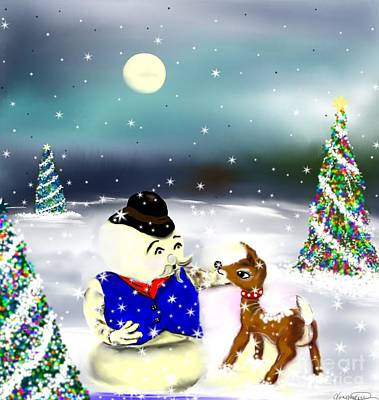 A Christmas Night Art Print by Lori  Lovetere
