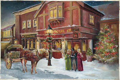 Horse Drawn Carriage Painting - A Christmas Night - Recolor by Marilyn Hageman