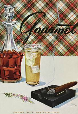 A Cigar In An Ashtray Beside A Drink And Decanter Art Print by Henry Stahlhut