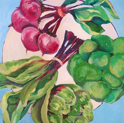 Broccoli Painting - A Circle Of Vegetables  by Claudia Van Nes