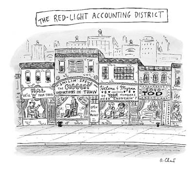 Night Drawing - A City Block Is Full Of Buildings With Glass by Roz Chast