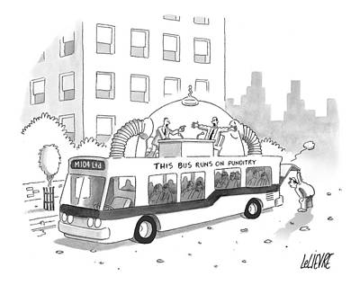 Rooftops Drawing - A City Bus Is Seen With A Rooftop Bubble by Glen Le Lievre