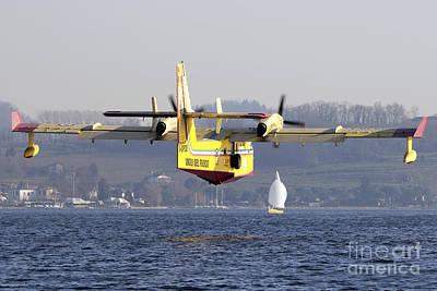 A Cl-415 Italian Fire Hunter Flying Print by Luca Nicolotti