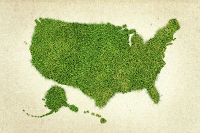 United State Grass Map Art Print by Aged Pixel