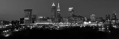 Abstract Skyline Photos - A Cleveland Black and White Night by Frozen in Time Fine Art Photography