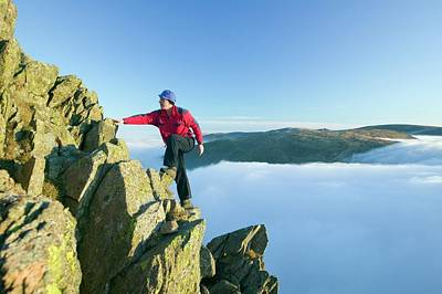 Scree Photograph - A Climber On Red Screes by Ashley Cooper