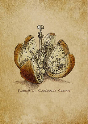 Steampunk Drawing - A Clockwork Orange by Eric Fan