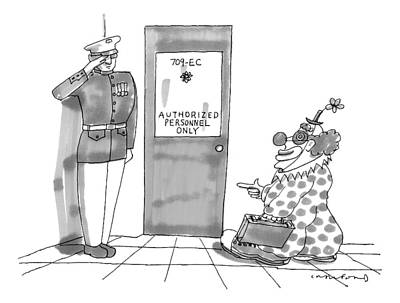 A Clown Is Seen Walking Into A Door Which Says Art Print by Michael Crawford